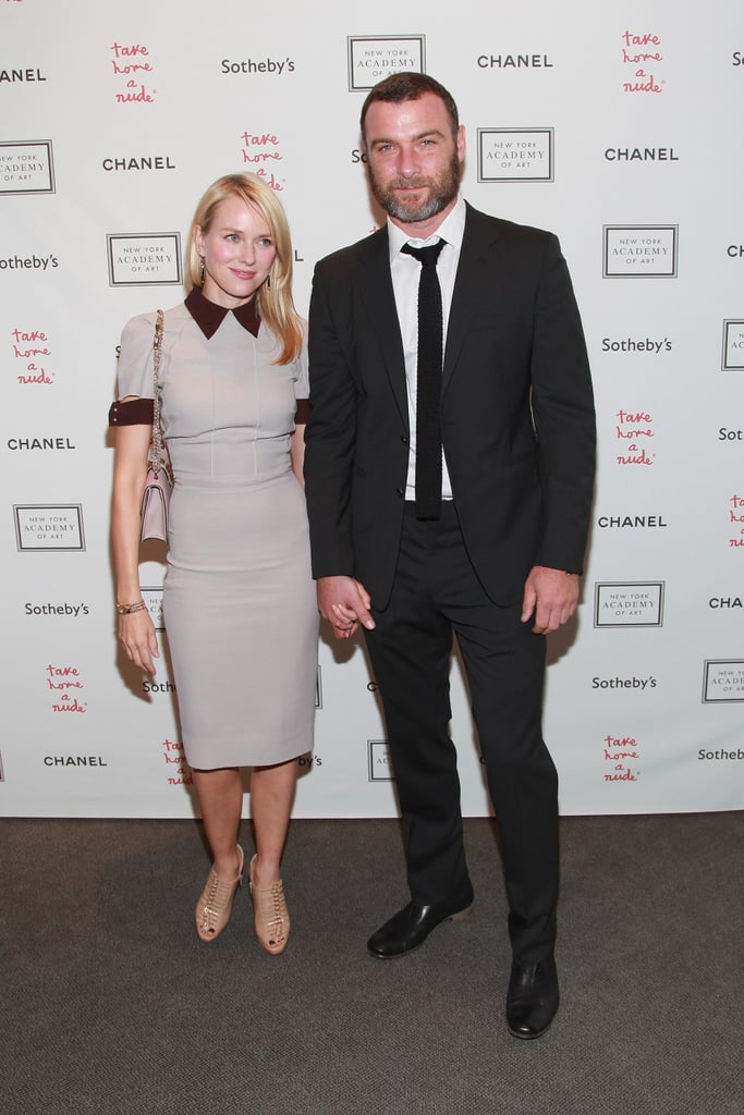 Naomi Watts wore a Victoria Beckham Collection dress to attend last night's Take Home a Nude art auction with Liev Schreiber at Sotheby's in NYC. They held hands and posed for pictures at the annual event, which benefits the New York Academy of Art. Brooke Shields and Padma Lakshmi also stepped out for the bash. Naomi, a former spokesperson for David Yurman, also smiled for photos with David himself.  It's been a busy week for Naomi of balancing work and family time. Naomi went to Target's 50th anniversary event Tuesday, when she told us all about her upcoming project Diana and the pressures of playing Princess Diana. On Wednesday, Naomi and Liev showed their sporty sides kicking a soccer ball around an NYC park with their youngest son Kai.