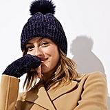 LOFT Chenille Faux Fur Pom-Pom Hat