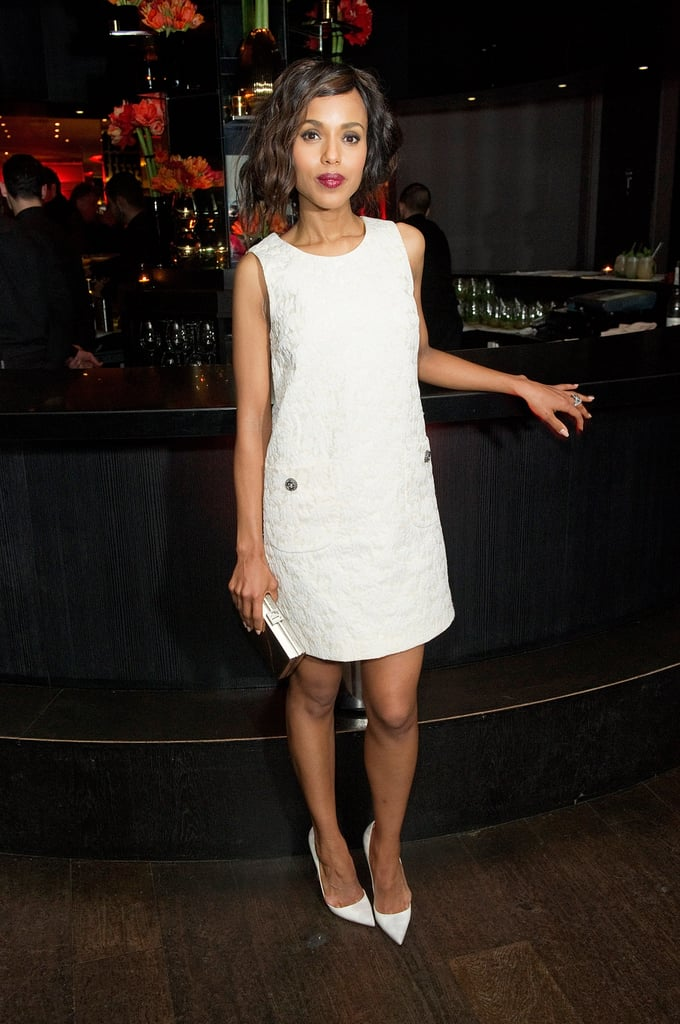 Kerry Washington channeled her inner mod girl in a white shift dress and white pointy pumps at the Django Unchained afterparty in London.