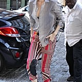 Gigi Hadid Wore a Striped Button-Down Blouse With Etro Pants