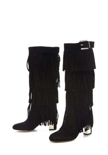 A metallic heel and tiered fringe means these B Brian Atwood Pallazo Fringe Boots ($785) do the outfit legwork for you.