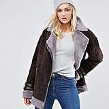 ASOS Suede Aviator With Faux Shearling