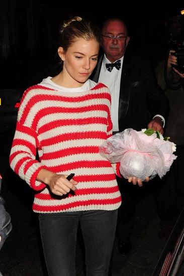 Pictures of Sienna Miller in a Stripy Jumper Leaving Flare Path Rehearsals