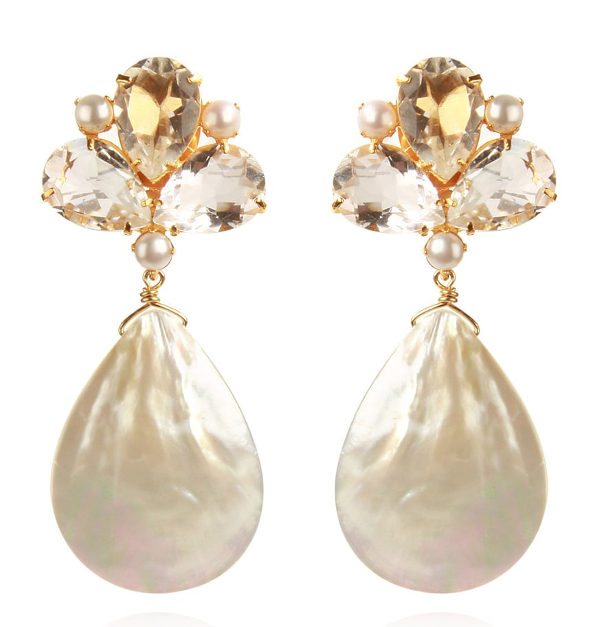 These stunners would be the perfect complement to a pretty updo.  Bounkit Mother of Pearl & Clear Quartz Earrings ($330)