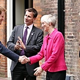 Prince Harry greeted guests as they arrived at the reception held for athletic winners of the First National Finals of the School Games.