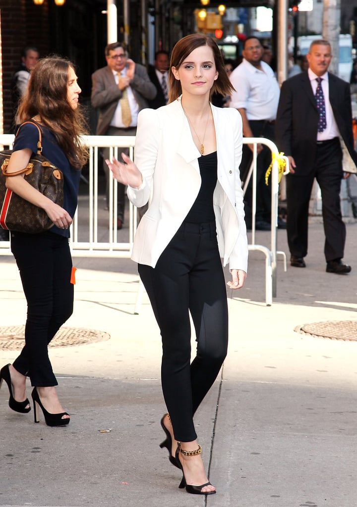 Emma Watson visited the Late Show in NYC.