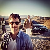 I spy John Goodman on the set of The Hangover III behind Justin Bartha.  Source: Instagram user toddphillips1