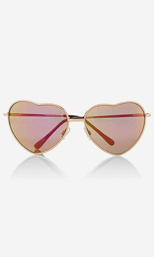 Express Metal Heart Sunglasses
