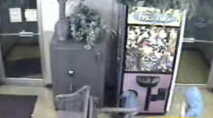 Little Kid Climbs into Game Machine Filled with Stuffed Animals