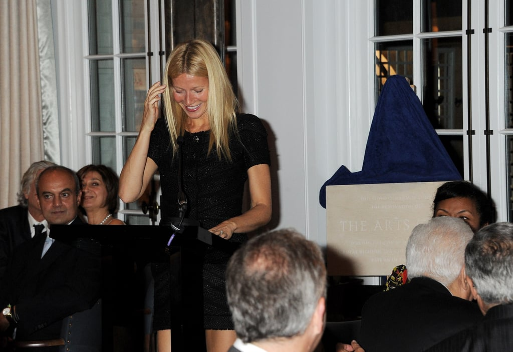 Gwyneth Paltrow makes a speech at the reopening of London's Art Club.