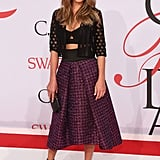 She worked it in a Milly crop top and full skirt combo at the CFDA Fashion Awards.