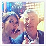 Brooke Burke and cohost Tom Bergeron goofed around on the set of Dancing With the Stars. Source: Instagram user thebrookeburke