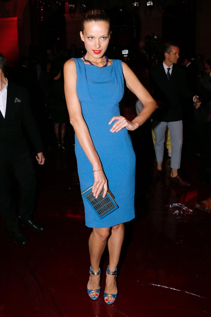 Petra Nemcova was a blue beauty in a sleek and chic dress with coordinating accessories at the Elie Saab Couture show.