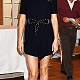 At her NYC book signing, Gwyneth amped up her knit navy Vionnet dress with a pair of funky Aperlai sandals.