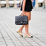 She also popularized her eponymous two-toned shoes and gold-chained handbags.