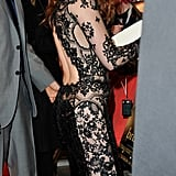 Adding to the lacy peekaboo drama, the dress also sported a jaw-dropping back cutout.