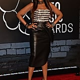 Jennifer Hudson tucked a black-and-white houndstooth bustier into a black leather pencil skirt, then added black pointy pumps for a classic edge.
