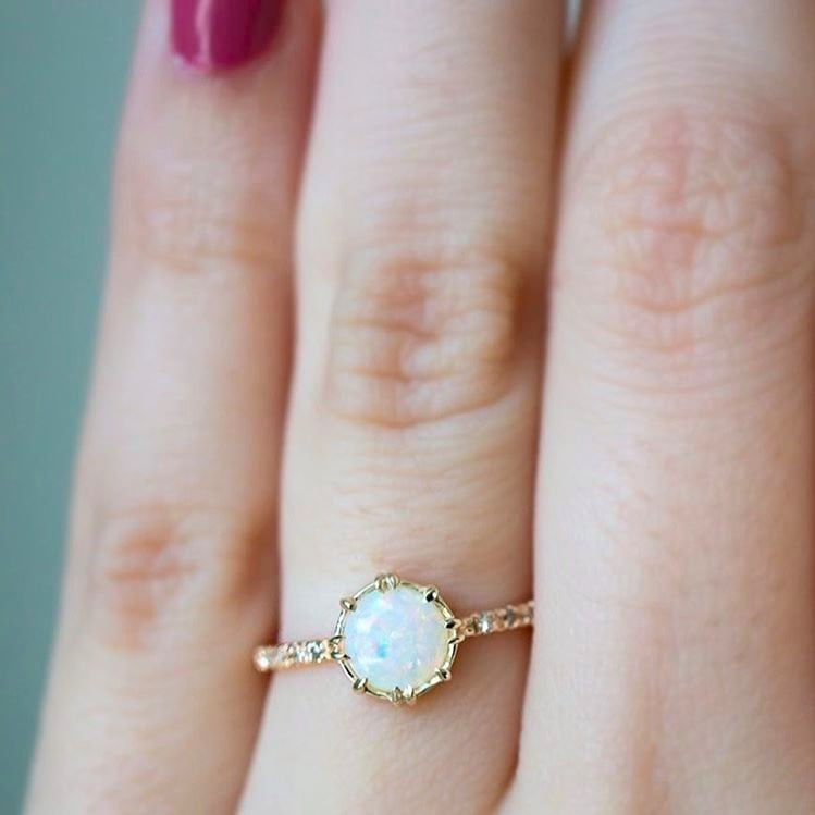 cut white opal ring gold engagement brilliant diamond rings carat