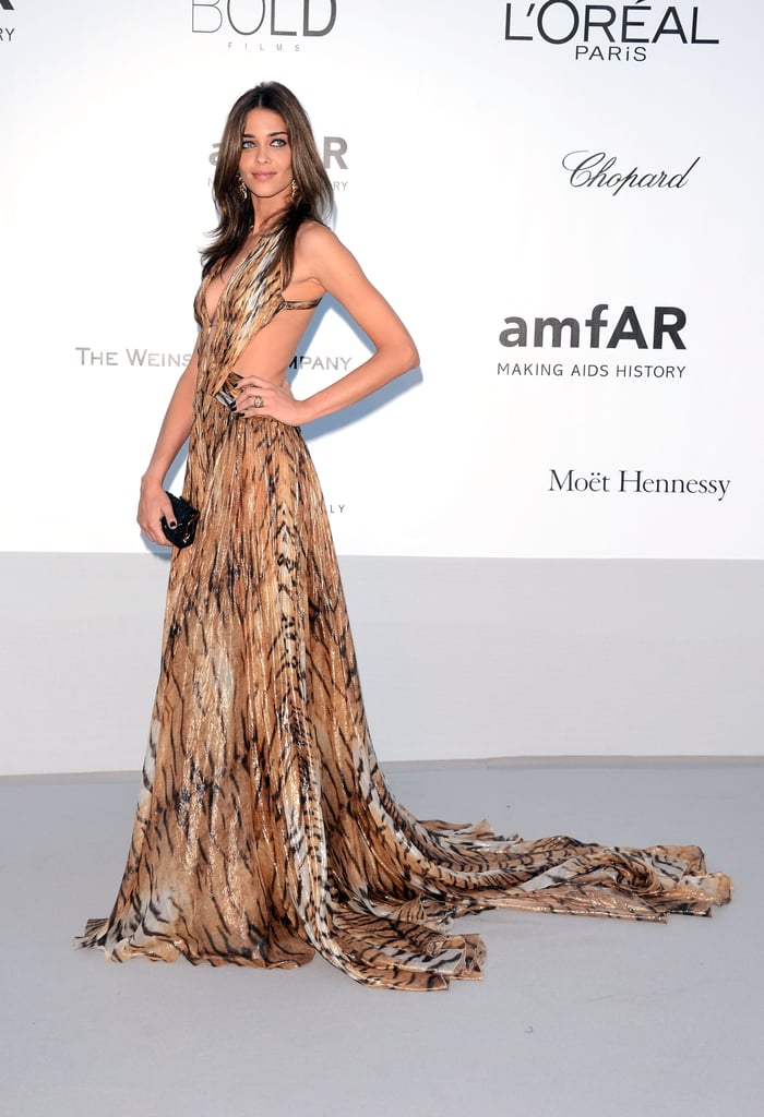 Ana Beatriz Barros stunned in a tiger-print gown, with a sexy backless cutout to boot, at amfAR's Cinema Against AIDS gala in Cannes.