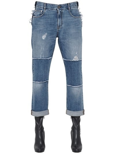 Stella McCartney Distressed Patchwork Organic Denim Jeans ($615)