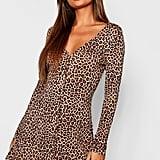 Boohoo Leopard Print Long Sleeve Swing Dress