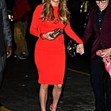 Jennifer Lopez was a total bombshell on her birthday in a snug red sheath and coordinating Louboutins.