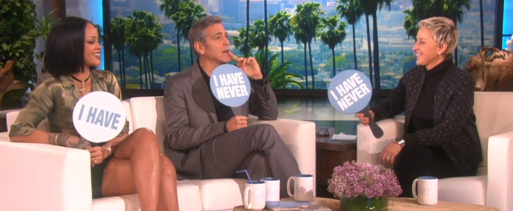 Rihanna and George Clooney Play Never Have I Ever Video