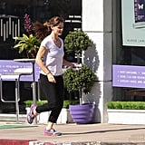 Jennifer Garner put her tennis shoes to work after a spa visit in LA on Sunday.
