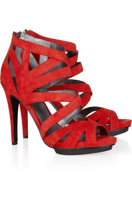 These red cutout sandals would pair perfectly with sequin accompaniments.  DKNY Marcey Suede Sandals ($255)