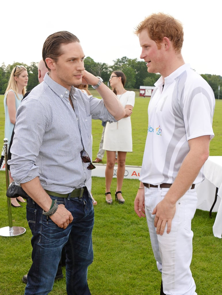 Tom Hardy casually exchanged words at the Audi Polo Challenge in Ascot, England in June 2014.