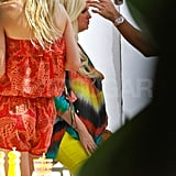 Jessica Simpson in tie dye at a photo shoot in Palm Springs.