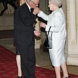 Queen Elizabeth II greeted King Carl XVI Gustaf of Sweden and Queen Silvia of Sweden as they arrived at a lunch for sovereign monarchs held in honor of Queen Elizabeth II's Diamond Jubilee at Windsor Castle on May 18.