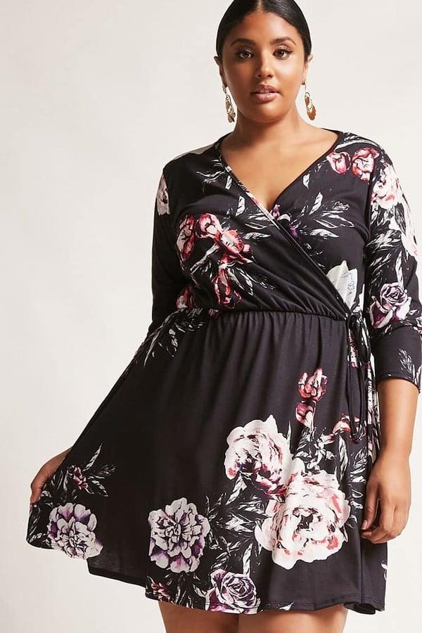 Forever 21 Floral Fit Flare Dress Plus Size Engagement Dresses