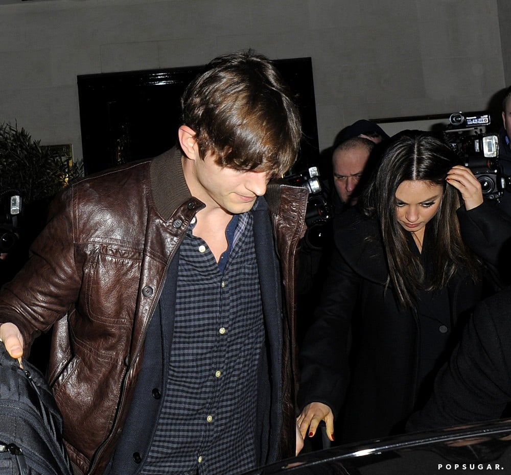 Ashton Kutcher opened the car door for Mila Kunis after a dinner date in London.