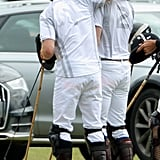 Prince Harry had his arm around his older brother at the Audi Polo Challenge in Ascot, England, in May 2015.