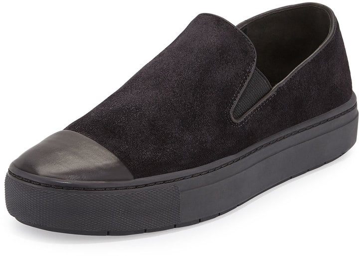 Vince Neda Cap-Toe Slip-On Sneaker, Black ($225)
