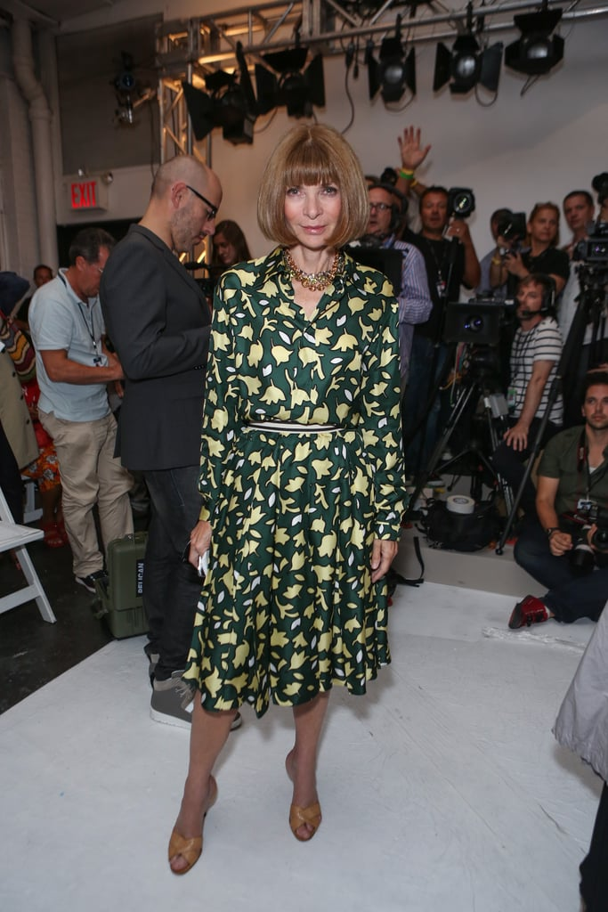 It's always a treat to spot Anna Wintour at the shows, and for Altuzarra, the Vogue editor in chief wore a green-and-yellow printed dress.