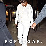Selena Gomez Wearing a White Denim Outfit at JFK in NYC