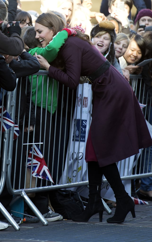 Kate Middleton hugged a fan at the Newcastle Civic Centre.