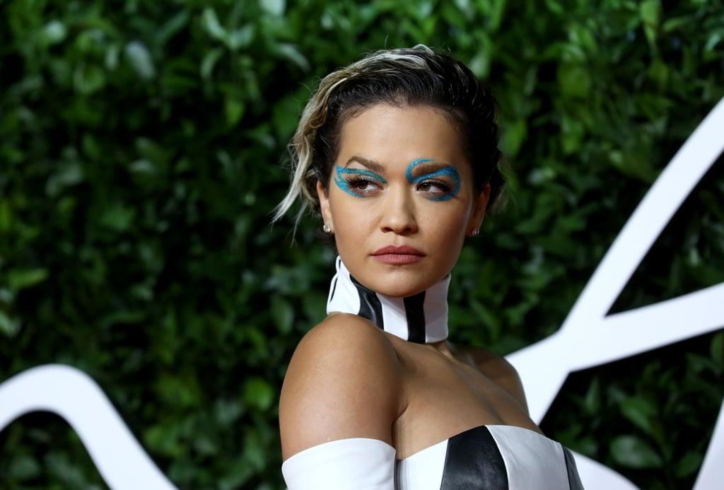 Rita Ora's Blue Eyeliner at British Fashion Awards 2019