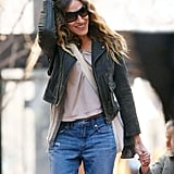 Sarah Jessica Parker walking in NYC with her daughter, Loretta Broderick.