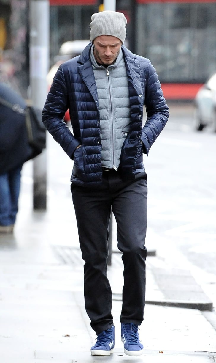 David Beckham wore blue sneakers to take a walk around London.