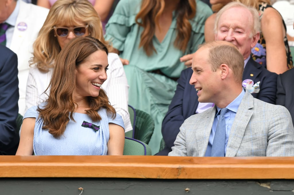 Something about sporting events always seems to bring out a more playful side of Prince William and Kate Middleton's relationship. On Sunday, the royal couple looked like they were having a ball as they attended the gentlemen's singles final at Wimbledon. Will looked dapper in a blazer, blue dress shirt, and dark pants, while Kate was radiant in a blue A-line dress and $80 Aldo heels. The two — who met with ball boys, ball girls, and other staff members before the match — got quite animated as they chatted with each other and cheered from the stands.  Kate has certainly made a lot of sports outings lately. The royal — who is an avid tennis fan — attended day two of Wimbledon solo, before linking up with sister-in-law Meghan Markle to watch Serena Williams in the ladies' singles final on Saturday. The ladies also brought along their precious children as they watched William and Prince Harry compete in a charity polo match on Wednesday. See more of Kate and Will's day out at Wimbledon ahead.       Related:                                                                                                           All the Times Prince William and Kate Middleton Put Their Love Front and Center at Wimbledon