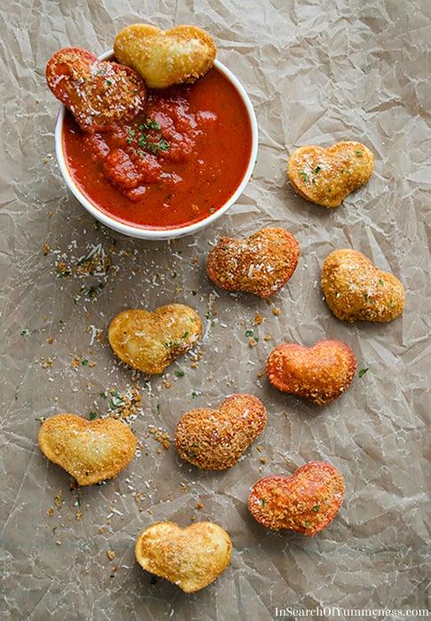 Fried Ravioli Hearts
