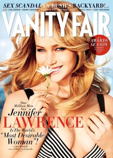"Jennifer Lawrence posed for photographer Ellen von Unwerth for the cover of Vanity Fair's February issue. Inside the pages, she showed skin in a crop top and talked about her acting career. Jennifer's been working on Catching Fire in Hawaii recently while her current film, Silver Linings Playbook, continues to get rave reviews and award season buzz. She'll switch gears to the small screen later this month, though, when she hosts Saturday Night Live. Here's more from Jennifer Lawrence in Vanity Fair:  On having a bow and arrow at home: ""One time I actually used it for defense. I pulled into my garage and I heard men in my house. And I was like, 'I'm not letting them take my stuff.' I had just gotten back from training, so I had the bow and arrows in the back of my car. I went to my car and I put this quiver on me and I had my bow and I loaded it and I'm walking up the stairs. And I look, and my patio doors were open, and there were guys working right there, and I was like, 'Heyyy, how you doin'?'"" On acting: ""Not to sound rude, but [acting] is stupid. Everybody's like, 'How can you remain with a level head?' And I'm like, 'Why would I ever get cocky? I'm not saving anybody's life. There are doctors who save lives and firemen who run into burning buildings. I'm making movies. It's stupid.'"" On meeting her idols: ""Once I'm obsessed with somebody, I'm terrified of them instantly. I'm not scared of them — I'm scared of me and how I will react. Like, for instance, one time someone was introducing me to Bill Maher, and I saw Meryl Streep walk into the room, and I just stared at Meryl Streep. I just creepily stared at her."""