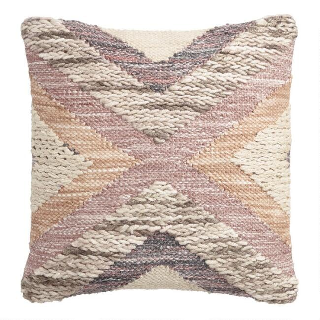 Dusty Pink Crossroads Indoor Outdoor Throw Pillow