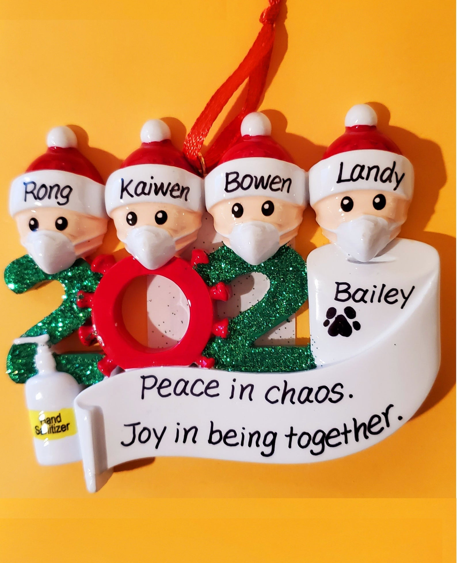 7 Head Family Members 2020 Keepsake Pandemic Ornament With Masks Blank Or Personalized