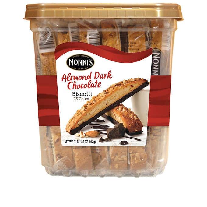 Nonni's Almond Dark Chocolate Biscotti, Pack of 25