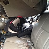 The car seat that kept Hunter alive, postcrash.