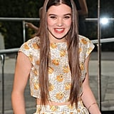 Hailee Steinfeld wore her waist-length locks straight, allowing the ends to graze the bottom of her midriff-revealing top.